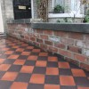 Reclaimed brick walls with reclaimed York stone copings and quarry tile path  thumbnail